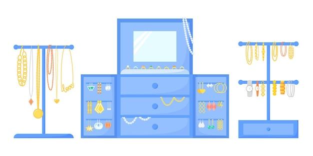 Porta-joias com acessórios, organizador de joias, suporte e suporte vector