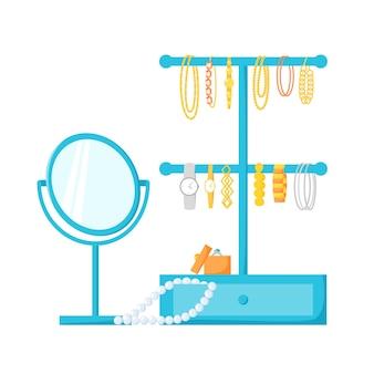 Porta-joias com acessórios pulseiras relógios contas suporte para joias espelho de mesa redonda