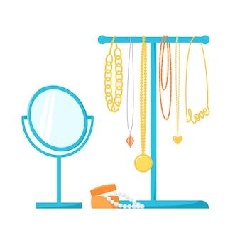 Porta-joias com diferentes colares, correntes e contas suporte para joias, espelho de mesa redonda