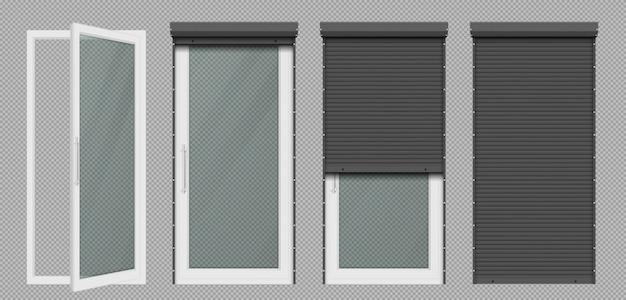 Porta ou janela de vidro com persiana branca