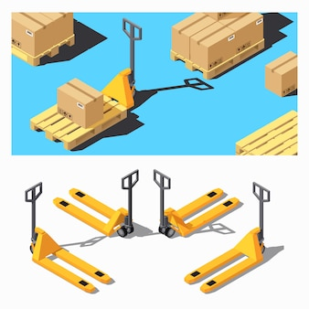 Porta-paletes. conjunto de ícones isométricos de equipamentos de armazenamento.