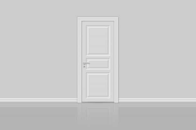 Porta realista fechada isolada
