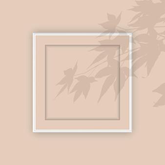 Porta-retrato em branco com sobreposição de sombra de planta