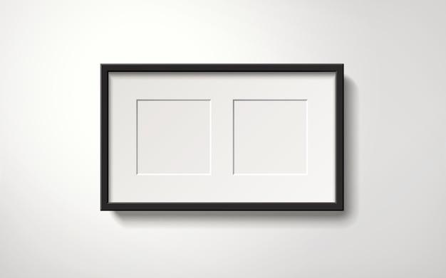 Porta-retrato em branco isolado com espaços para fotos penduradas na parede, estilo realista de ilustração 3d