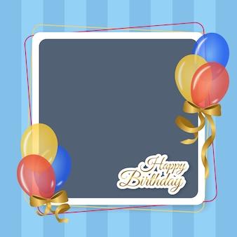 Porta-retrato para festa de aniversário com balões e fitas coloridas