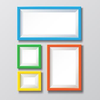 Porta-retrato vazio colorido em branco