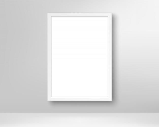 Porta-retrato vazio realista na parede.