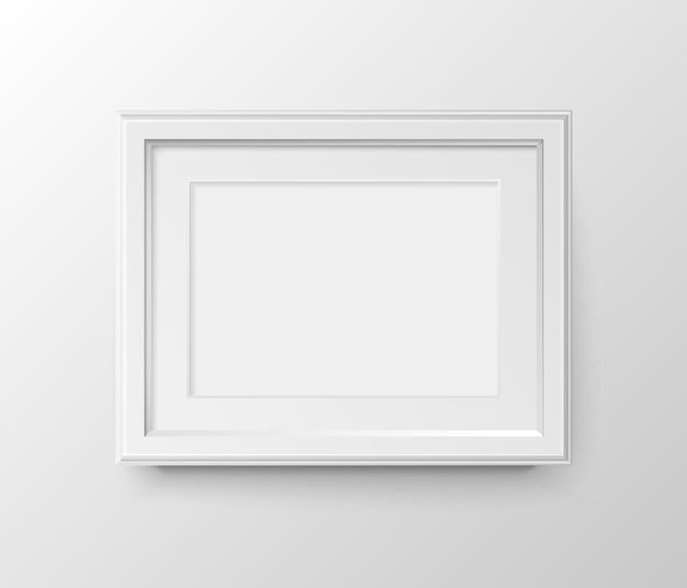 Porta-retratos em branco horizontal a3 e a4 com passepartout para fotografias. papel realista de vetor ou plástico fosco branco com sombra