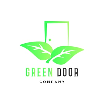 Porta verde do logotipo do vetor da porta com o símbolo de duas folhas