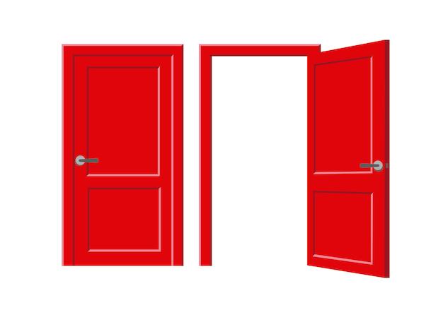 Porta vermelha, aberta e fechada