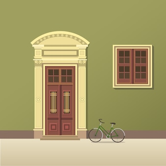Porta vintage e ilustração de janela