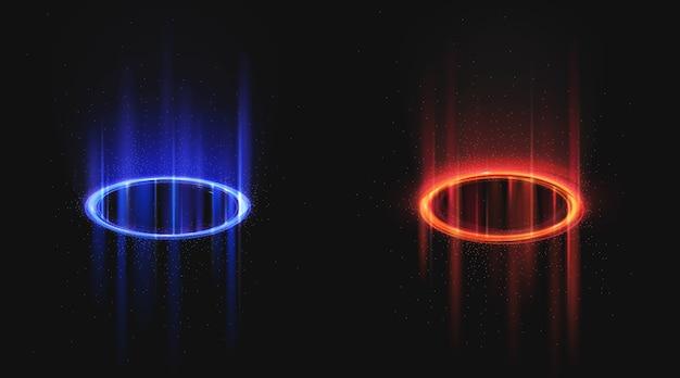 Portais mágicos azuis e vermelhos