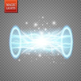 Portal de fantasia mágica. teletransporte futurista. efeito de luz.
