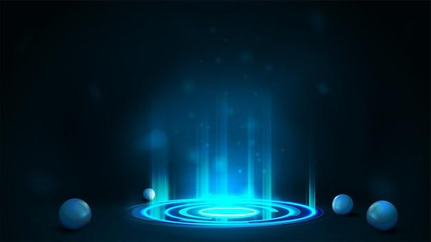 Portal digital em formato cilíndrico com partículas e anéis brilhantes em quarto escuro com esferas ao redor