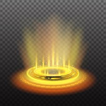 Portal mágico circular realista com ilustração de fluxos de luz amarela e brilhos