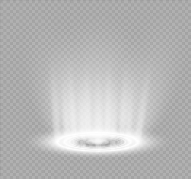 Portal mágico da fantasia. teleporte futurista. efeito de luz. raios de luz da cena noturna e faíscas em um fundo transparente. efeito de luz vazio do pódio. discoteca da pista de dança.