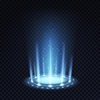 Portal mágico. efeito de luz realista com feixe azul e partículas brilhantes
