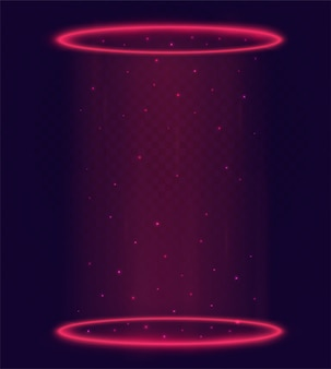 Portal mágico luminoso, teletransporte com anéis vermelhos e raios de luz de uma cena noturna com faíscas em fundo transparente. elementos de holograma futurista.