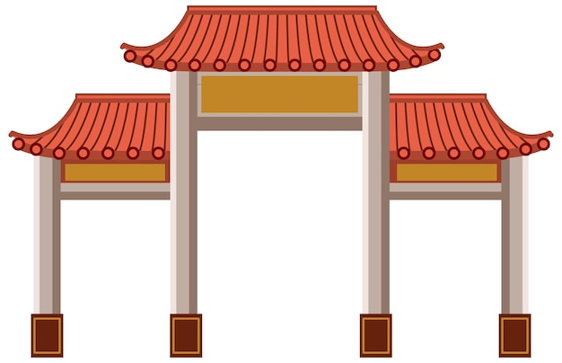 Portão chinês ou paifang isolado no fundo branco
