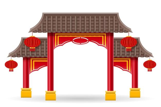 Portão chinês para entrar em um templo ou pagode com colunas e uma ilustração vetorial de telhado isolada no fundo