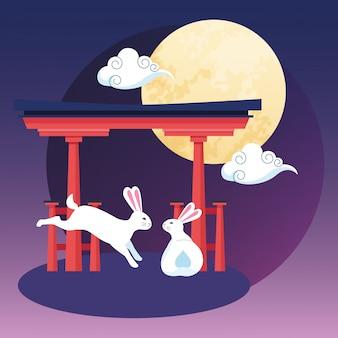 Portão chinês vermelho e coelhos, feliz festival de outono meados de