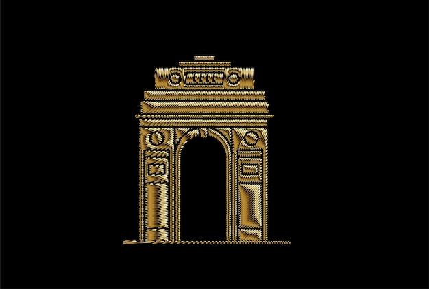 Portão da índia em nova deli. arco do triunfo da década de 1920 e memorial de guerra. ilustração em vetor arte cor ouro.