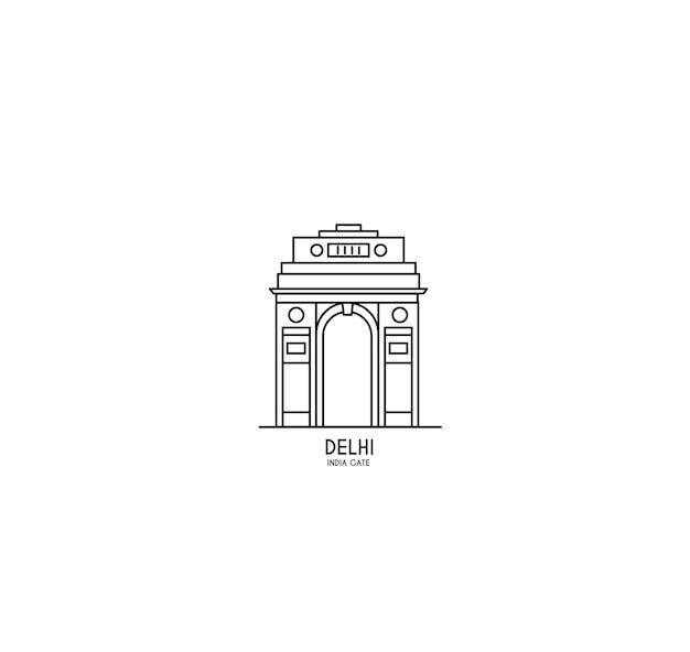 Portão da índia em nova deli. arco do triunfo da década de 1920 e memorial de guerra. ilustração em vetor arte linha.