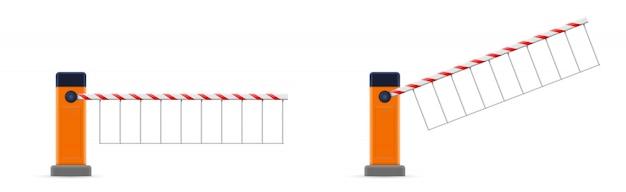 Portão de barreira de estacionamento aberto e fechado, limite de parada