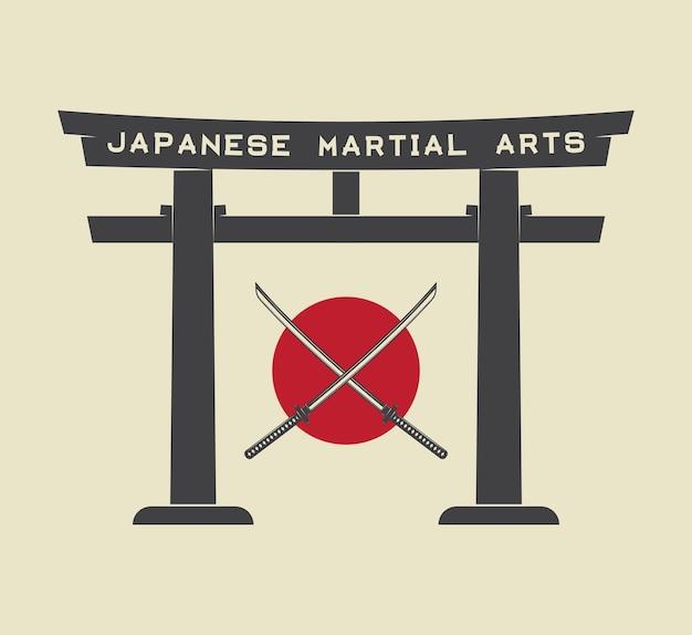 Portão de torii japonês com bandeira do japão e katana em estilo vintage. ilustração vetorial