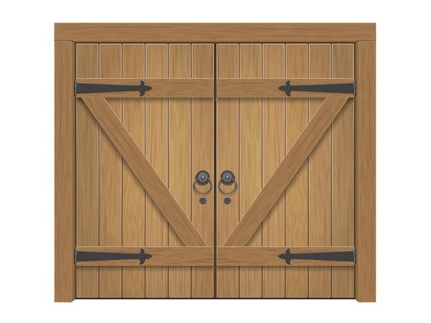 Portão fechado maciço de madeira velho realista. porta dupla com puxadores e dobradiças em ferro.