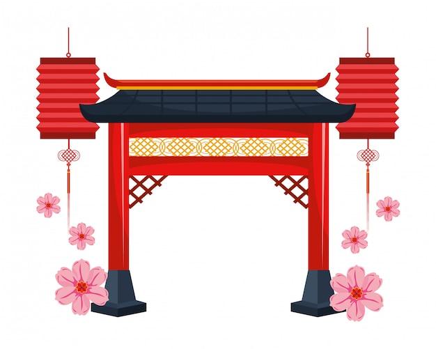 Portão vermelho chinês