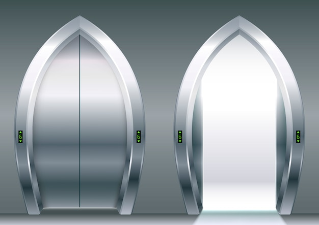 Portas arqueadas do elevador