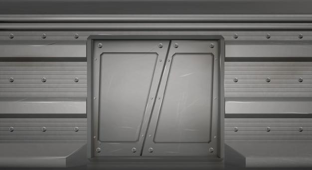 Portas corrediças de metal futuristas em nave espacial