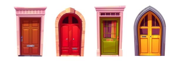 Portas da frente em arco de madeira com porta de pedra isolada no fundo branco. conjunto de desenhos animados de portões fechados de entrada de casa, vermelhos, verdes e amarelos com maçanetas e janelas. elementos de fachada de construção