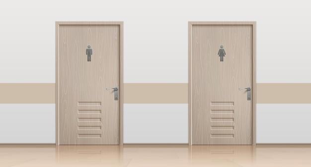 Portas de banheiro. maquete de interior realista com portas de banheiro fechadas para visitantes masculinos e femininos. entrada de banheiro de vetor com colocação de sinais de banheiro público