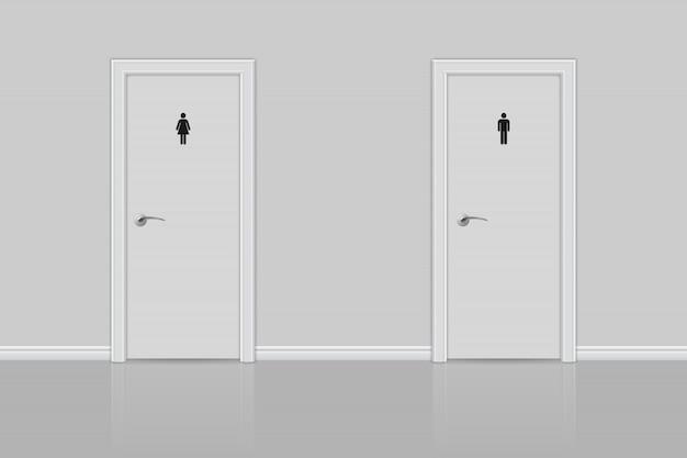 Portas de banheiro para homem e mulher.