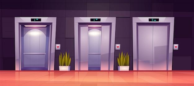 Portas de elevador de desenho animado, portões de elevador fechados e abertos
