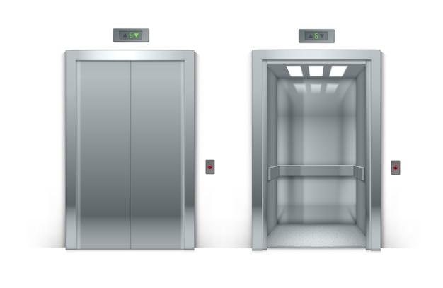 Portas de elevador de edifício de escritórios de metal cromado abertas e fechadas realistas isoladas no fundo