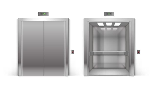 Portas de elevador de edifício de escritórios de metal cromado abertas e fechadas realistas