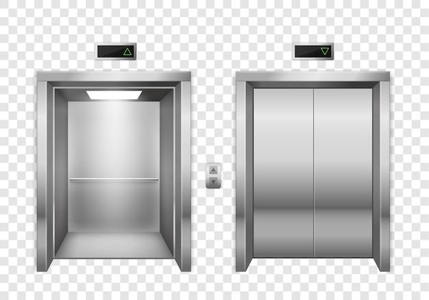 Portas de elevador de metal cromado abertas e fechadas