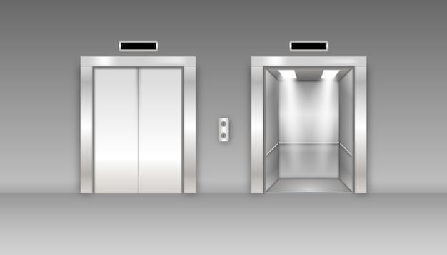 Portas de elevador de prédio de escritórios de metal cromado. variante aberta e fechada. elevador detalhado 3d realista