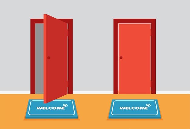 Portas de entrada vermelhas abertas e fechadas de vista frontal