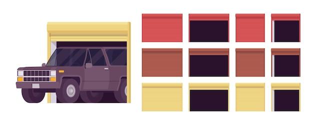 Portas de garagem, conjunto de sistema de rolos de metal, entrada de carro para o prédio que abriga um veículo