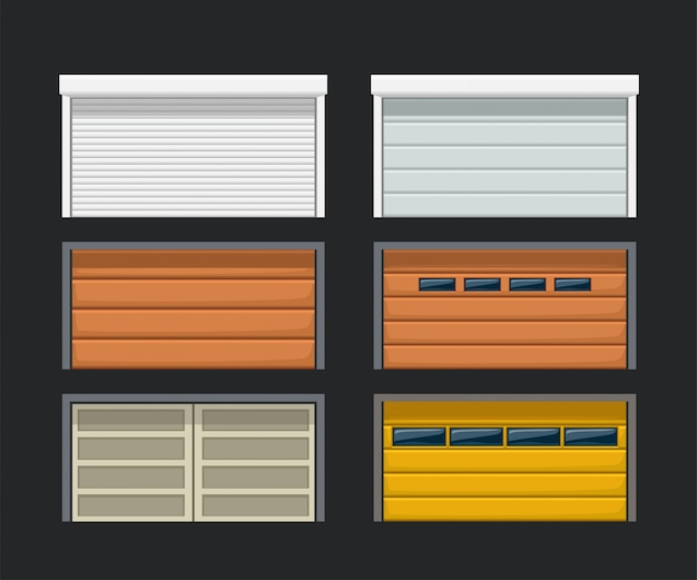 Portas de garagem definidas no escuro