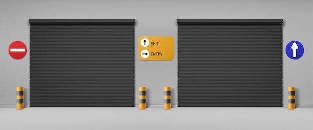 Portas de garagem, entradas comerciais de hangares com persianas e letreiros.
