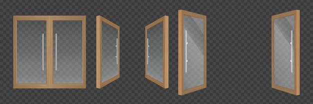 Portas de vidro abertas e fechadas com molduras de madeira
