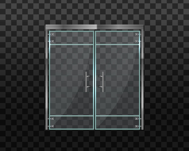 Portas de vidro duplo para o shopping ou escritório. escritório com porta de vidro ou centro comercial isolado em fundo transparente. para loja, loja, centro comercial, boutique, edifício de escritórios. ilustração.