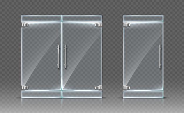Portas de vidro em fundo transparente. ilustração realista