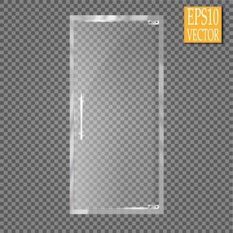 Portas de vidro isoladas em fundo transparente.