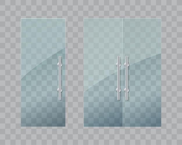 Portas de vidro isoladas em transparente